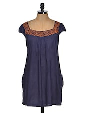 Tunic With Embroidery On Sleeves And Neck - MORIYA