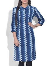 Blue Chevron Printed Cotton Kurta - By