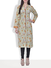 Green Block Printed Cotton Front Buttoned Kurti - By