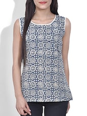 Grey And Blue Block Printed Cotton Top - By