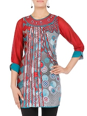 Grey Printed Quarter Sleeved Cotton Kurti - By