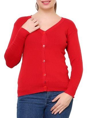 Red Cotton Blend Cardigan
