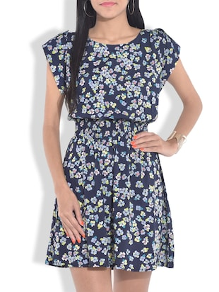 navy blue printed gathered dress
