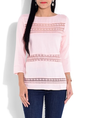 Light pink rayon top with lace work