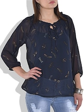 Navy Blue Butterfly Printed Top - By