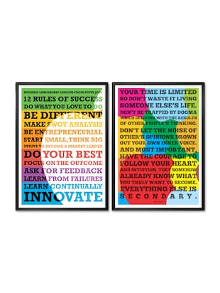 Steve Jobs Apple Motivational Quotes Framed Poster (Set of 2)