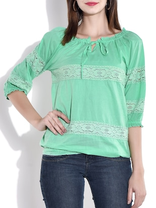 sea green gathered neck cotton top