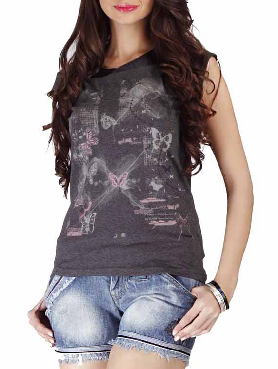 Charcoal Grey Printed Cotton Top With Laced Back - By