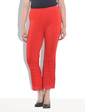 Solid Red Acrylic Palazzos - By