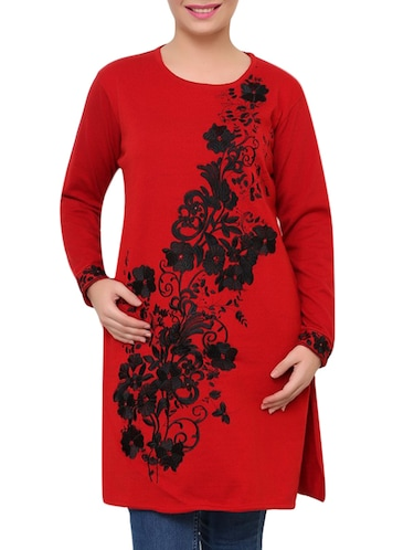 red floral embroidered acrylic woolen kurta - 9646070 - Standard Image - 1