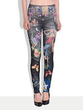 Multicolored Abstract Printed Jeggings - By