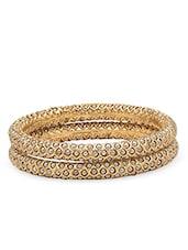 Gold Embellished Bangle Set Of 2 - By
