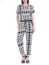 Monochrome Printed Rayon Jumpsuit - By