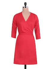 Solid Red Rayon Angrakha Styled Dress - By
