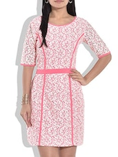 White And Pink Polylace Printed Dress - By