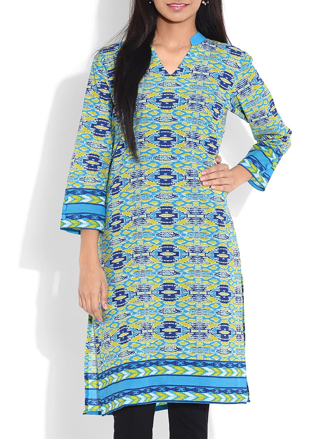 Blue Printed Quarter Sleeved Cotton Kurta - By