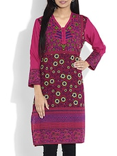 Pink Printed Full Sleeved Cotton Kurta - By