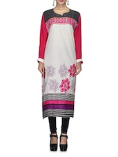 Cream Floral N Striped Embroidered Cotton Kurta - By