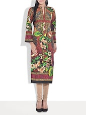 Multicolored Floral Printed Poly Cotton Kurta - By