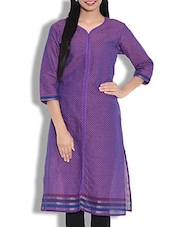 Purple Cotton Kurti With Front Slit - By