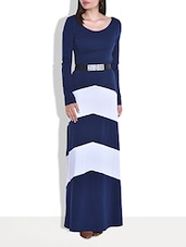 Navy Cotton Jersey Maxi Dress - By