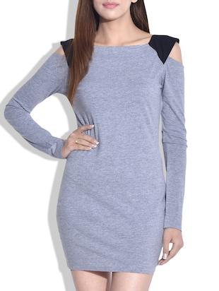 Grey cotton jersey dress with cutout sleeves