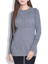 Grey Cotton Jersey Top With Gathered Yoke - By