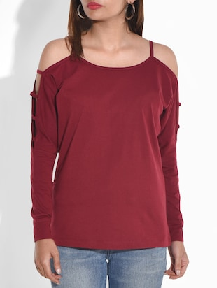 Maroon cotton jersey top with cutout sleeves