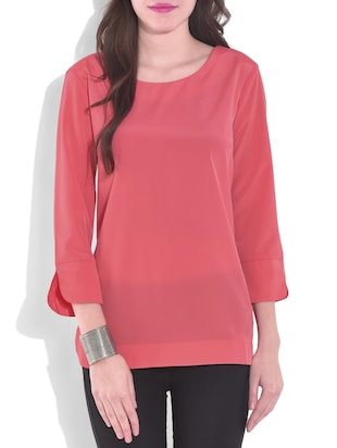 coral red round neck crepe top