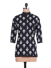 Monochromatic Printed Quarter Sleeved Cotton Kurti - By