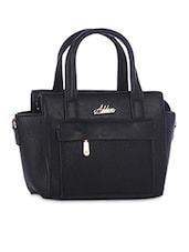 Solid Black Faux Leather Handbag - By