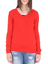 Solid Red Acrylic Sweater - By