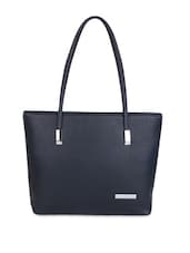 Solid Navy Blue Leatherette Tote - By