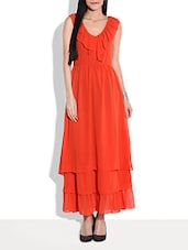 Solid Orange Tiered Sleeveless Maxi Dress - By