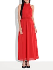 Solid Red Halter-neck Maxi Dress - By