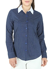 Navy Blue Polka Dots Cambric Cotton Shirt - By