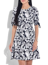 Off White N Navy Blue Printed Dress - By