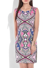 White And Pink Printed Sleeveless Dress - By
