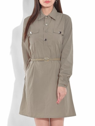 beige full sleeved cotton blend dress