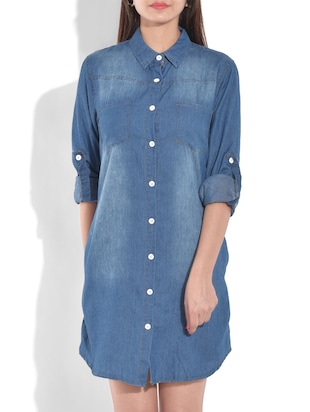 blue flat collared cotton denim top