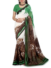 Multicolored Faux Georgette Printed Saree - By