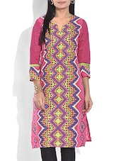 Pink Printed Quarter Sleeved Cotton Kurta - By