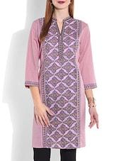 Lilac Printed Quarter Sleeved Cotton Kurta - By