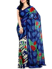Blue Faux Georgette Printed Saree - By