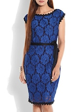 Blue And Black Laced Dress - By