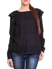 Black Viscose  Long Sleeved Top - By