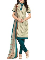 Beige Poly Cotton Printed Unstitched Suit Set - By