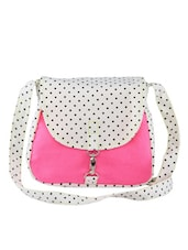 Polka print white and pink bag -  online shopping for sling bags