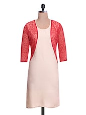 Beige And Red Rayon Cotton Lace Fabric Kurti With Jacket - By