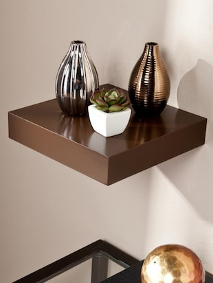 Solid brown floating wall shelf